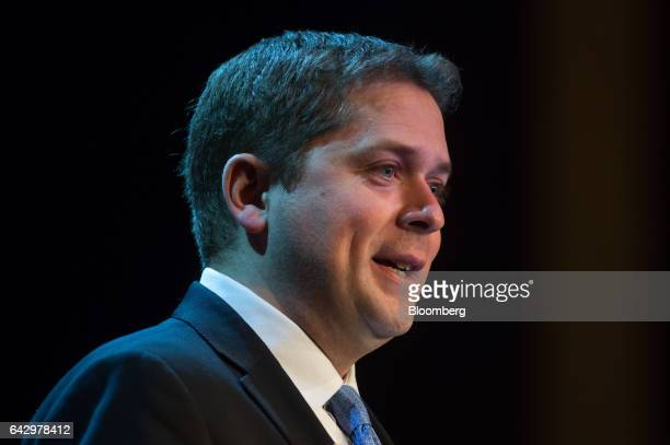 Andrew Scheer member of parliament and Conservative Party leader candidate speaks during the Conservative Party of Canada leadership debate in...