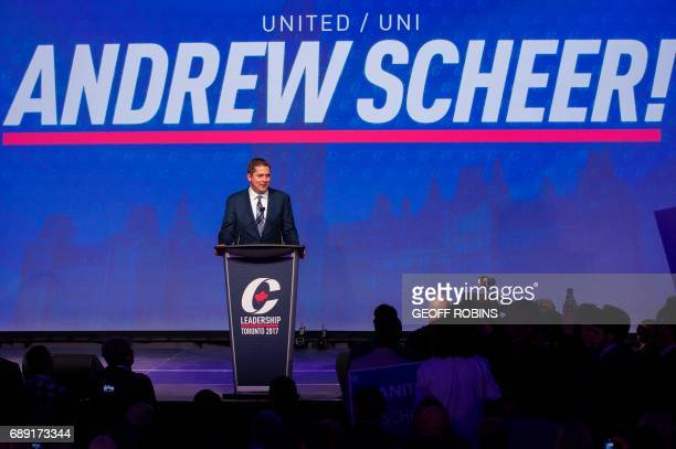 Andrew Scheer newly elected leader of the Conservative Party of Canada addresses the party's convention in Toronto Ontario May 27 2017 / AFP PHOTO /...