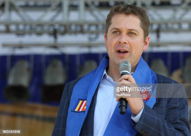 Andrew Scheer speaks during Vesak celebrations in Mississauga Ontario Canada on May 27 2018 Scheer is the Leader of the Conservative Party and Leader...