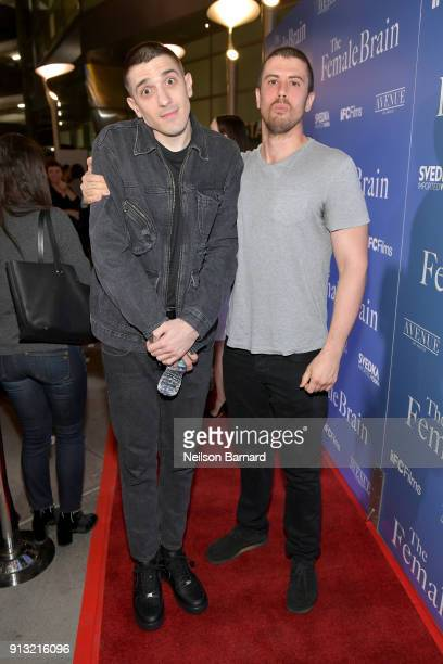 Andrew Schulz and Toby Kebbell attend the premiere of IFC Films' 'The Female Brain' at ArcLight Hollywood on February 1 2018 in Hollywood California