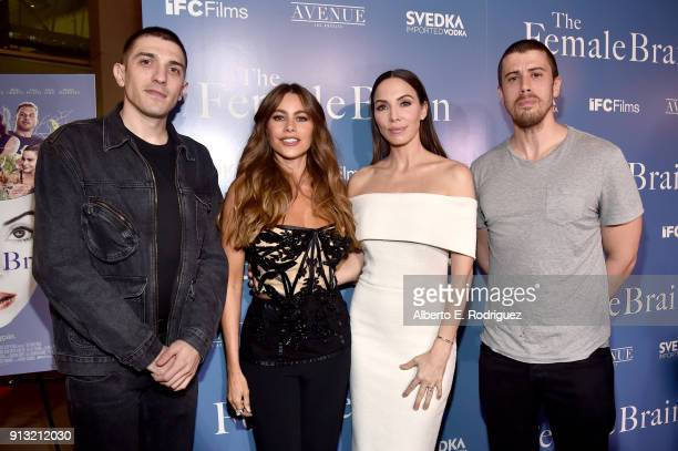 Andrew Schulz, Sofia Vergara, Whitney Cummings, and Toby Kebbell attend the premiere of IFC Films' 'The Female Brain' at ArcLight Hollywood on...