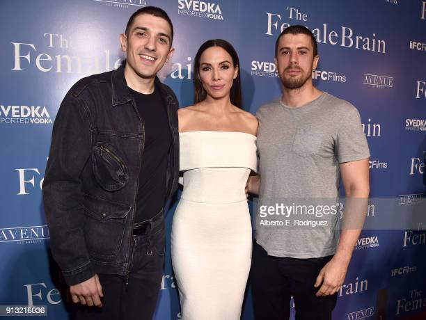Andrew Schulz, Whitney Cummings, and Toby Kebbell attend the premiere of IFC Films' 'The Female Brain' at ArcLight Hollywood on February 1, 2018 in...