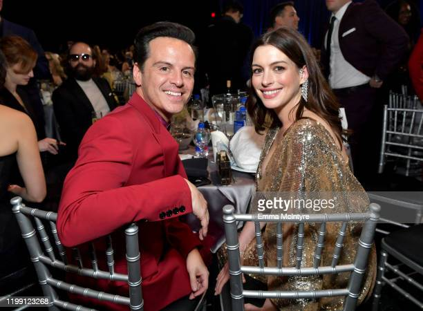 Andrew Scott and Anne Hathaway attend the 25th Annual Critics' Choice Awards at Barker Hangar on January 12 2020 in Santa Monica California