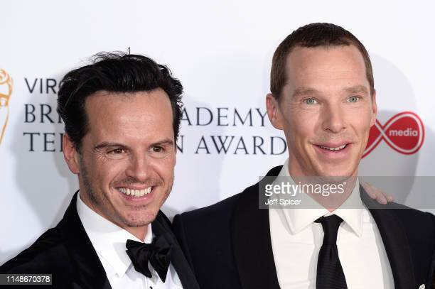 Andrew Scott and Benedict Cumberbatch pose in the Press Room at the Virgin TV BAFTA Television Award at The Royal Festival Hall on May 12 2019 in...