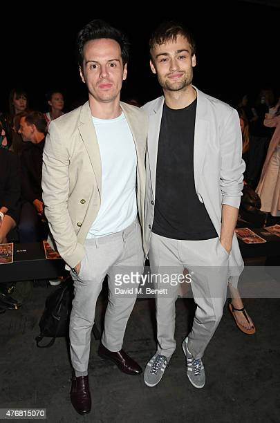Andrew Scott and Douglas Booth attend the Topman Design show during London Collections Men SS16 at The Old Sorting Office on June 12 2015 in London...