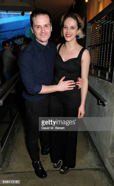 Andrew Scott and Jessica Brown Findlay attend the press night after party for 'Hamlet' at The Almeida Theatre on February 28 2017 in London England