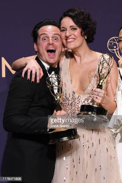Andrew Scott and Phoebe WallerBridge winners of the Outstanding Comedy Series award for 'Fleabag' pose in the press room during the 71st Emmy Awards...