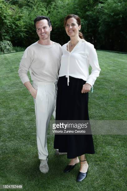 Andrew Scott and Roberta Armani attend Giorgio Armani Fashion Show at the Milan Men's Fashion Week Spring/Summer 2021/22 on June 21, 2021 in Milan,...