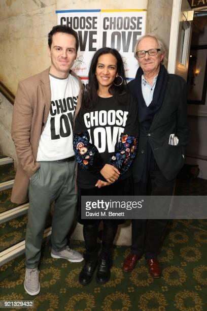 Andrew Scott Anoushka Shankar and Ken Loach attend the Choose Love fundraiser in aid of Help Refugees at The Fortune Theatre on February 19 2018 in...