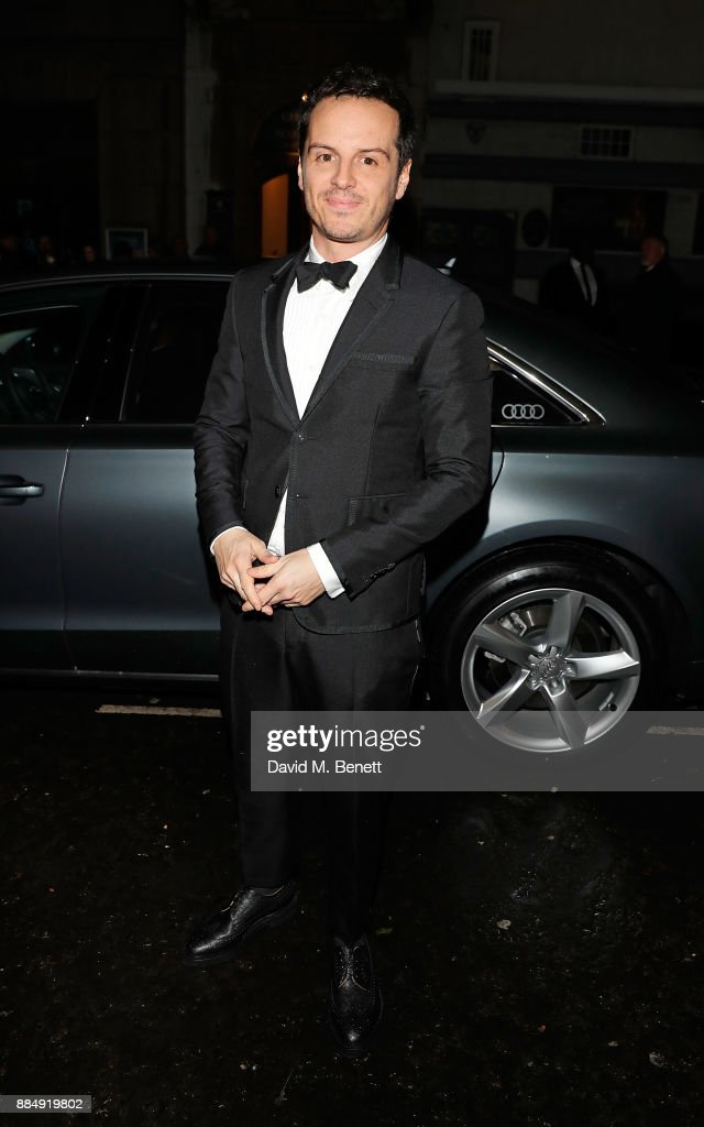 Andrew Scott arrives in an Audi at the Evening Standard Theatre Awards at Theatre Royal on December 3, 2017 in London, England.
