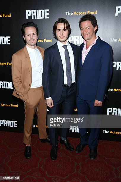 Andrew Scott Ben Schnetzer and Dominic West attend 'Pride' New York Screening at Ziegfeld Theater on September 15 2014 in New York City