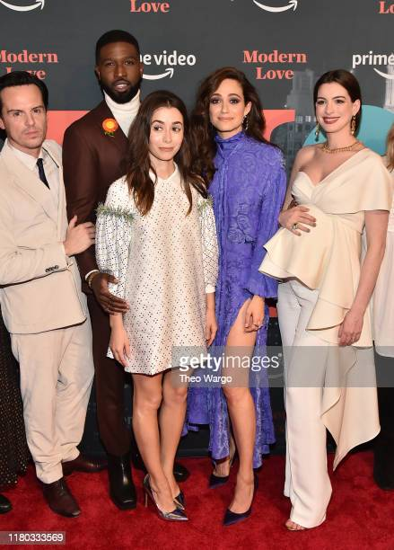 Andrew Scott Brandon Kyle Goodman Cristin Milioti Emmy Rossum and Anne Hathaway attend Amazon's Museum Of Modern Love on October 10 2019 in New York...