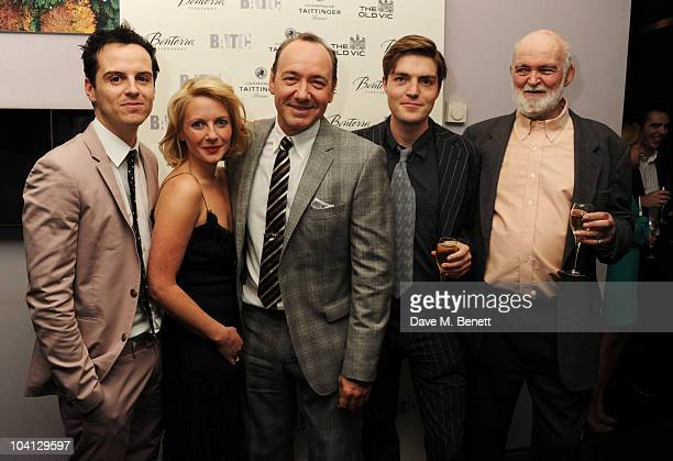 Andrew Scott Lisa Dillon Kevin Spacey Tom Burke and Anthony Page attend the afterparty following the press night of 'Design For Living' at Baltic on...