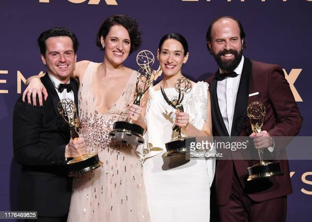 Andrew Scott Phoebe WallerBridge Sian Clifford and Brett Gelman winners of the Outstanding Comedy Series award for 'Fleabag' pose in the press room...