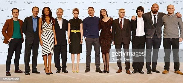 Andrew Scott Ralph Fiennes Naomie Harris director Sam Mendes Lea Seydoux Daniel Craig Monica Bellucci Christoph Waltz Ben Whishaw Dave Bautista and...