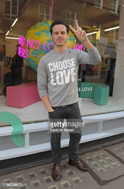 Andrew Scott volunteers during Match Fund day at the 'Choose Love' shop for Help Refugees in Covent Garden on December 13 2019 in London England