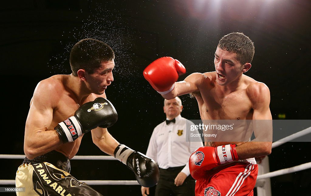 Andrew Selby of British Lionhearts (R) in action with Meirbolat Toitov of Astana Arlans Kazakhstan during their 50-54KG bout during the World Series of Boxing between British Lionhearts and Astana Arlans Kazakhstan on February 7, 2013 in London, England.