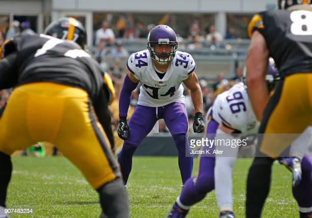 Andrew Sendejo of the Minnesota Vikings in action against the Pittsburgh Steelers on September 17 2017 at Heinz Field in Pittsburgh Pennsylvania