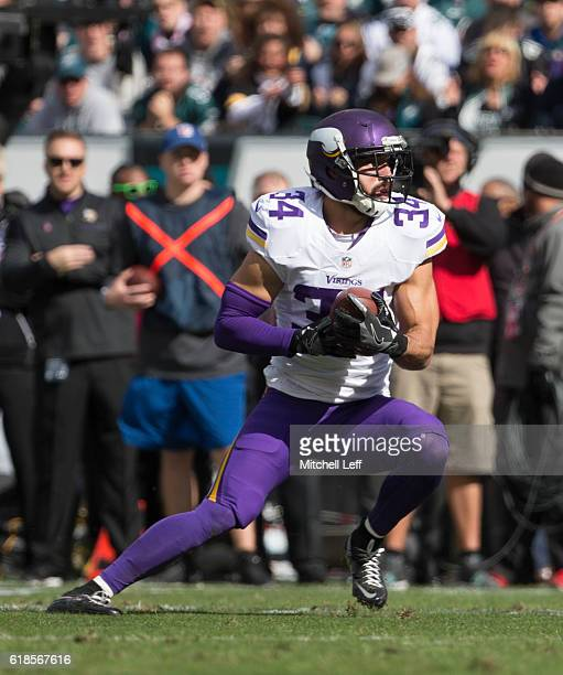 Andrew Sendejo of the Minnesota Vikings intercepts a pass against the Philadelphia Eaglesat Lincoln Financial Field on October 23 2016 in...