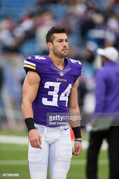 Andrew Sendejo of the Minnesota Vikings leaves the field following warm ups before the game against the Buffalo Bills at Ralph Wilson Stadium on...