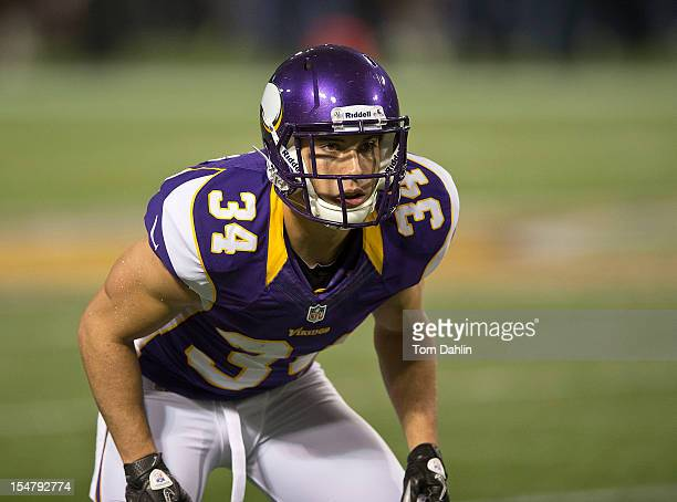 Andrew Sendejo of the Minnesota Vikings lines up during an NFL game against the Tampa Bay Buccaneers at Mall of America Field at the Hubert H...
