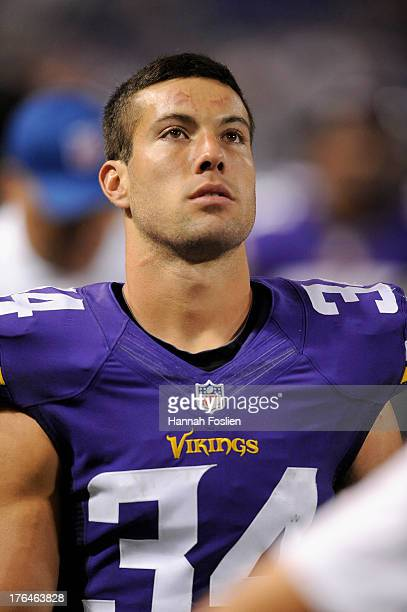 Andrew Sendejo of the Minnesota Vikings looks on during the preseason game against the Houston Texans on August 9 2013 at Mall of America Field at...