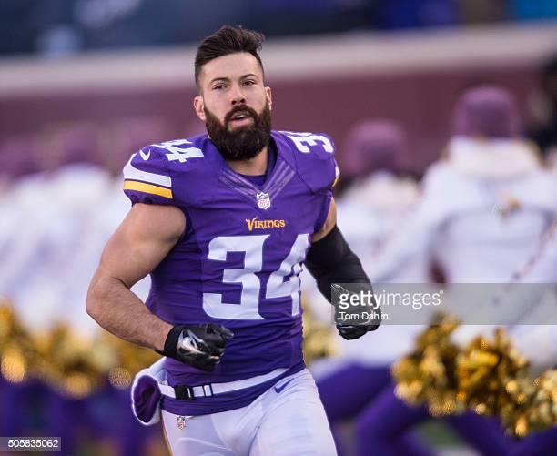 Andrew Sendejo of the Minnesota Vikings runs onto the field during an NFL game against the Seattle Seahawks at TCF Bank Stadium January 10 2016 in...