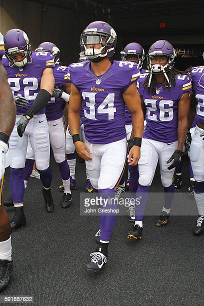 Andrew Sendejo of the Minnesota Vikings takes the field for the game against the Cincinnati Bengals at Paul Brown Stadium on August 12 2016 in...
