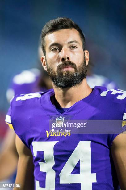 Andrew Sendejo of the Minnesota Vikings walks off the field after the game against the Buffalo Bills on August 10 2017 at New Era Field in Orchard...