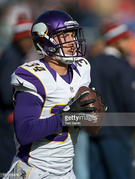 Andrew Sendejo of the Minnesota Vikings warms up prior to an NFL game against the Chicago Bears at Soldier Field on November 25 2012 in Chicago...