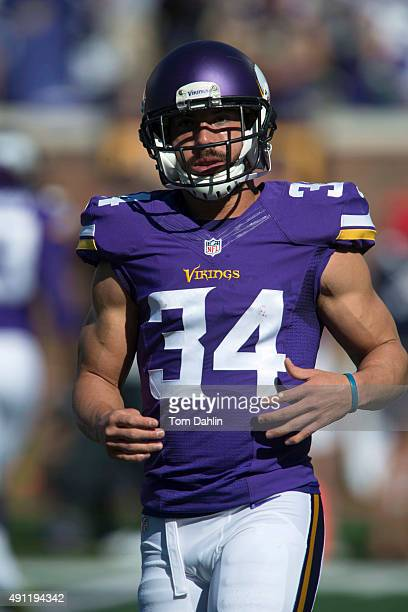 Andrew Sendejo of the Minnesota Vikings warms up prior to an NFL game against the San Diego Chargers at TCF Bank Stadium September 27 2015 in...