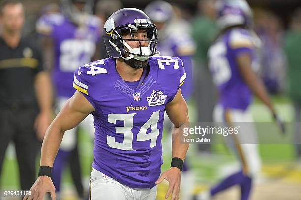 Andrew Sendejo of the Minnesota Vikings warms up prior to an NFL game against the Green Bay Packers at US Bank Stadium September 18 2016 in...
