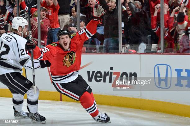 Andrew Shaw of the Chicago Blackhawks celebrates after scoring the first goal in Game Two of the Western Conference Final against the Los Angeles...