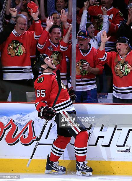 Andrew Shaw of the Chicago Blackhawks celebrates his goal in the first period of Game Two of the Western Conference Final against the Los Angeles...