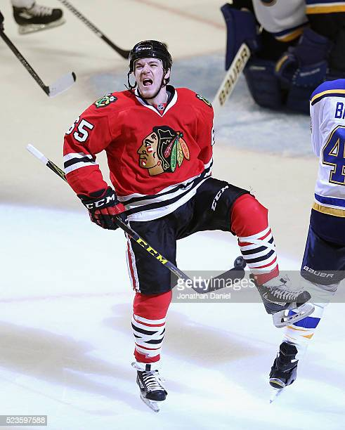 Andrew Shaw of the Chicago Blackhawks celebrates his third period goal against the St Louis Blues in Game Six of the Western Conference First Round...