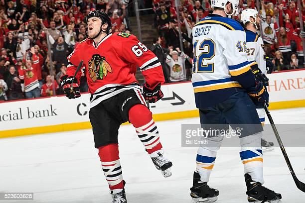 Andrew Shaw of the Chicago Blackhawks reacts after scoring against the St Louis Blues in the third period of Game Six of the Western Conference First...