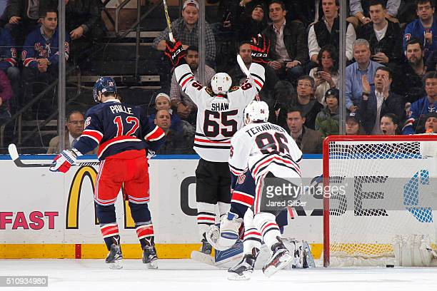 Andrew Shaw of the Chicago Blackhawks reacts after scoring in the third period against the New York Rangers at Madison Square Garden on February 17...