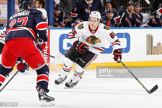 Andrew Shaw of the Chicago Blackhawks skates against Ryan McDonagh of the New York Rangers at Madison Square Garden on February 17 2016 in New York...