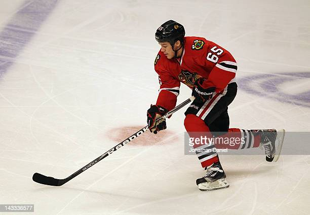 Andrew Shaw of the Chicago Blackhawks skates against the Phoenix Coyotes in Game Six of the Western Conference Quarterfinals during the 2012 NHL...