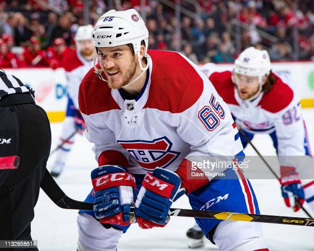 Andrew Shaw of the Montreal Canadiens gets set for the faceoff against the Detroit Red Wings during an NHL game at Little Caesars Arena on February...