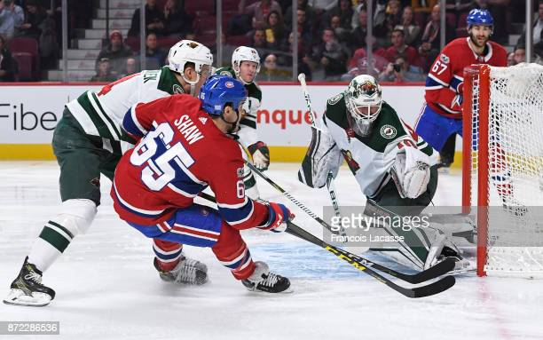 Andrew Shaw of the Montreal Canadiens misses the net against the Minnesota Wild in the NHL game at the Bell Centre on November 9 2017 in Montreal...