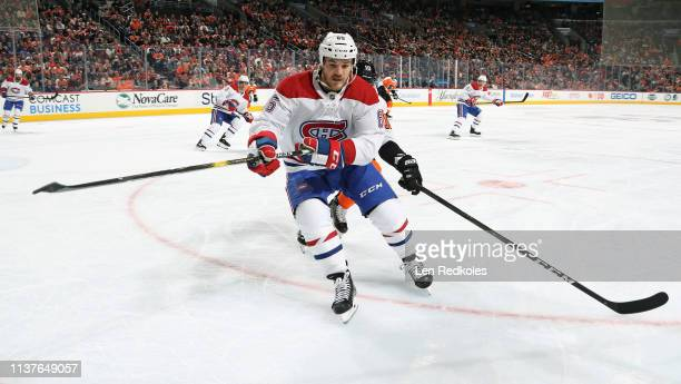 Andrew Shaw of the Montreal Canadiens skates against Corban Knight of the Philadelphia Flyers on March 19 2019 at the Wells Fargo Center in...