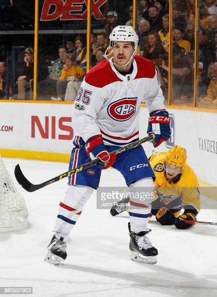 Andrew Shaw of the Montreal Canadiens skates against the Nashville Predators during an NHL game at Bridgestone Arena on November 22 2017 in Nashville...
