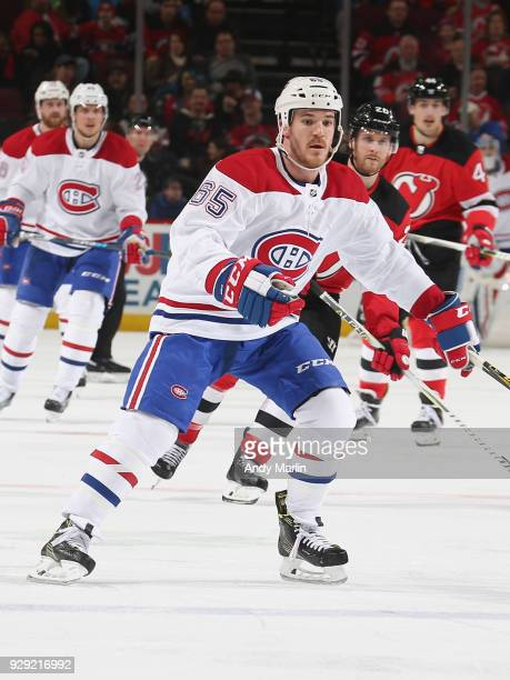 Andrew Shaw of the Montreal Canadiens skates against the New Jersey Devils at Prudential Center on March 6, 2018 in Newark, New Jersey.