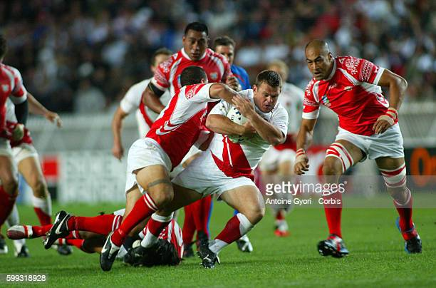 Andrew Sheridan during the IRB World Cup rugby match between England and Tonga.