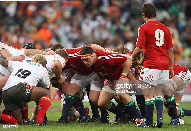 Andrew Sheridan of the Lions scrums down during the match between the Cheetahs and the British and Irish Lions on their 2009 tour of South Africa at...