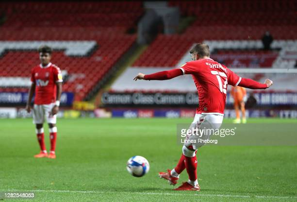 Andrew Shinnie of Charlton Athletic scores his team's second goal from a free kick during the Sky Bet League One match between Charlton Athletic and...