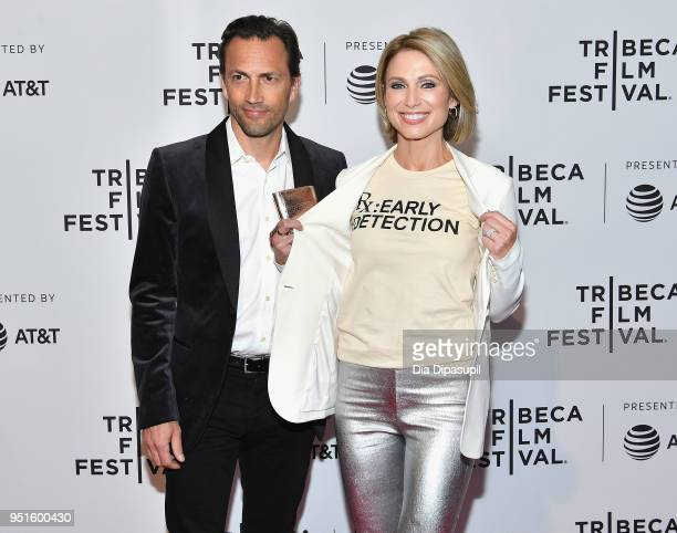 Andrew Shue and Amy Robach attend a screening of 'RX Early Detection A Cancer Journey With Sandra Lee' during the 2018 Tribeca Film Festiva at SVA...