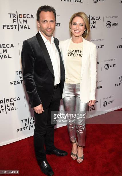 Andrew Shue and Amy Robach attend the HBO Documentary Film 'RX Early Detection A Cancer Journey With Sandra Lee' during The Tribeca Film Festival at...