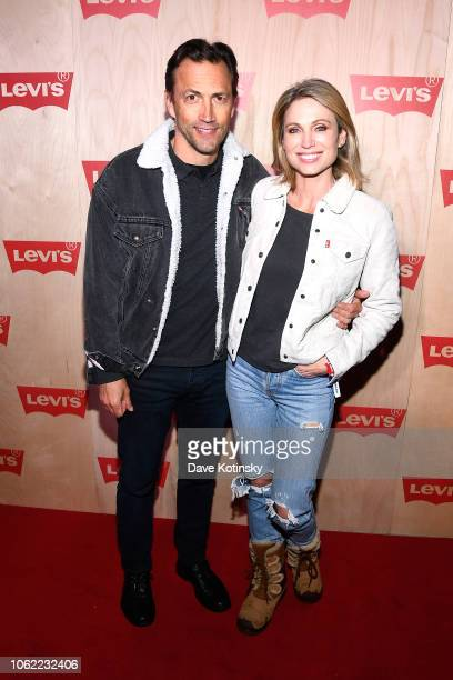 Andrew Shue and Amy Robach attend the Levi's Times Square Store Opening n November 15 2018 in New York City
